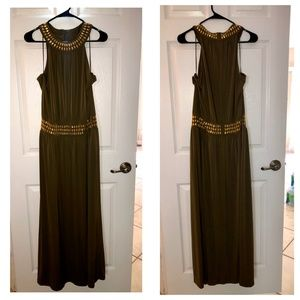 Michael Kors Olive Green Embellished Maxi Dress